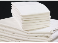 "108"" x 110"" T-200 White 60/40 Percale King Flat Sheets"