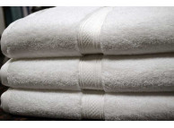 "27"" x 54"" 16.0 lb. Oxford Vicenza White Hotel Bath Towels"